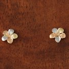 GE2131 Yellow Gold Plumeria Post Earring Tri-color Sandblast Finished 7mm
