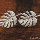 GE2139 Monstera Leaf Earrings 14k White Gold