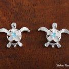 SE23203 8mm Plumeriain-Honu Earrings Blue