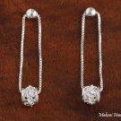 SE42001 Solid Sterling Silver Hawaiian Bead + Barrel Earrings