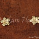 Hawaiian Jewelry Plumeria 14k Yellow Gold Post Earring 7mm GE2109