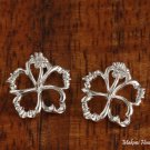 18mm Floating Hibiscus Hawaiian Silver Jewelry Earring SE53341