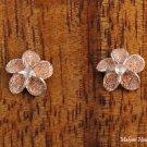 SE21809 10mm Sand Plumeria CZ Earrings Pink