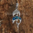 SOP1076 3 Opal CZ Twin Dolphin Pendant (Chain Sold Separately)