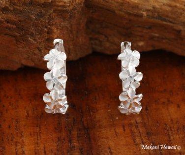 SE27601 6 Hawaiian Plumeria with Clear CZ Solid Silver Earrings Hoop