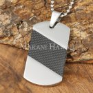 Carbon Fiber Stainless Steel Dog Tag Pendant Diagonal SLP7002