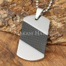 Carbon Fiber Stainless Steel Dog Tag Pendant Diagonal SLP7002
