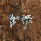 SOE124 Hawaiian Jewelry Solid Sterling Silver Opal Palm Tree Earrings