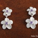 SE18004 8 + 10mm Plumeria CZ Earrings Purple
