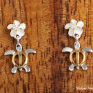 SE22105 6mm Plumeria-Honu Earrings Two Tone