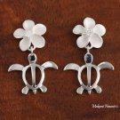 SE22401 12mm Plumeria-Honu(L) Earrings White