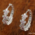 SE27602 6 Hawaiian Plumeria with Pink CZ Solid Silver Earrings Hoop
