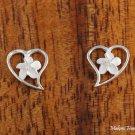 SE29001 6mm Hawaiian Plumeria in Heart Sterling Silver Earrings Sandblast