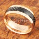 8mm Carbon Fiber Stainless Steel Wedding Ring Oval PG SLR6013