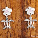 SE22202 8mm Plumeria-Honu Earrings Pink