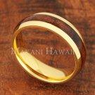 6mm Koa Wood Stainless Steel Wedding Ring Oval Yellow Gold SLR6116