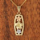GP3133 Yellow Gold Tri-color Three Plumeria Vertical Pendant(L)