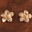GE2137 Pink Gold Plumeria Post Earring 16mm