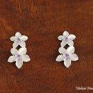 SE17604 Double Plumeria CZ Earrings Purple