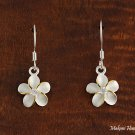 SE12205 12mm Plumeria CZ Hook Earrings Two Tone