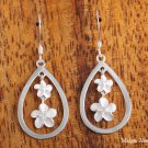 Hawaiian Sterling Silver Plumeria in Drop Hook  Earring SE31401