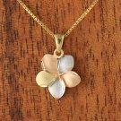 GP3152 14K Solid Yellow Gold Tri-color Plumeria Pendant 15mm