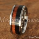 10mm Titanium Koa wood/Black Wood Inlaid Wedding Ring Two Tone TIR4009