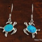 SOE131 Sterling Silver Opal Hawaiian Turtle Earring