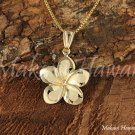 Traditional Hawaiian Plumeria 14K Yellow Gold Pendant 12mm GP3154
