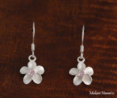 SE12102 10mm Plumeria CZ Hook Earrings Pink