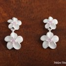 SE18002 8 + 10mm Plumeria CZ Earrings Pink
