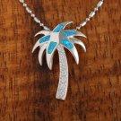 SOP1021 5 Opal CZ Palm Tree Pendant (Chain Sold Separately)