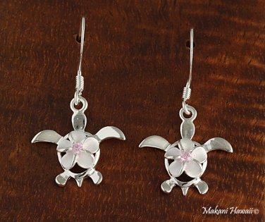 SE25702 8mm Plumeriain Honu Hook Earrings Pink