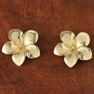 GE2136 Yellow Gold Plumeria Post Earring 16mm
