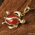 GP3102 Red Coral Inlaid 14K Solid Yellow Gold Honu(Hawaiian Turtle) Pendant