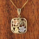 GP3136 Yellow Gold Tri-color Square Plumeria Scroll Pendant 15mm