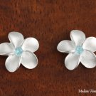SE10503 15mm Plumeria CZ Earrings Blue