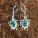 SOE121 3 Opal Turtle Lever Back Earrings