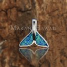 SOP1037 Solid Sterling Silver 2 Opal Inlaid Whaletail Pendant Hawaiian Jewelry