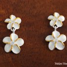 SE18005 8 + 10mm Plumeria CZ Earrings Two Tone