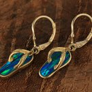 GE2107 Yellow gold Opal Inlaid Slipper(Flip Flop) Lever Back Earring