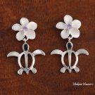 SE22404 12mm Plumeria-Honu(L) Earrings Purple