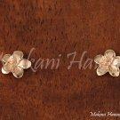 Hawaiian Gold Jewelry14k Pink Gold Plumeria Post Earring 7mm GE2130