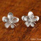 SE58408 Hawaiian Silver Jewelry 12mm Plumeria with 3 CZ Inlaid Earring WG
