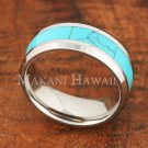 8mm Turquoise Stainless Steel Wedding Ring Flat Beveled Edg SLR6202