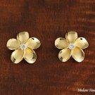 15mm Plumeria Clear cz Hawaiian Jewelry Silver Earring SE56505