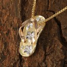 GP3137 Yellow Gold Tri-color YG/PG/WG Slipper(Flip Flop) Pendant(M)
