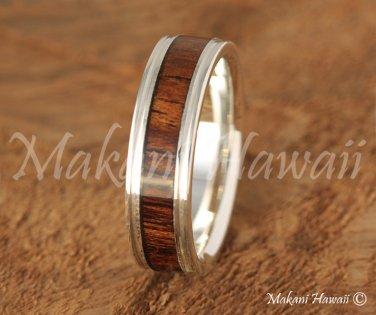 6mm Sterling Silver Koa Wood Inlaid Wedding Ring
