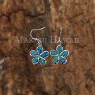 SOE120 Hawaiian Jewelry 10mm Plumeria Sterling Silver Opal Hook Earring
