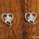 SE29007 6mm Hawaiian Plumeria in Heart Sterling Silver Earrings shiny